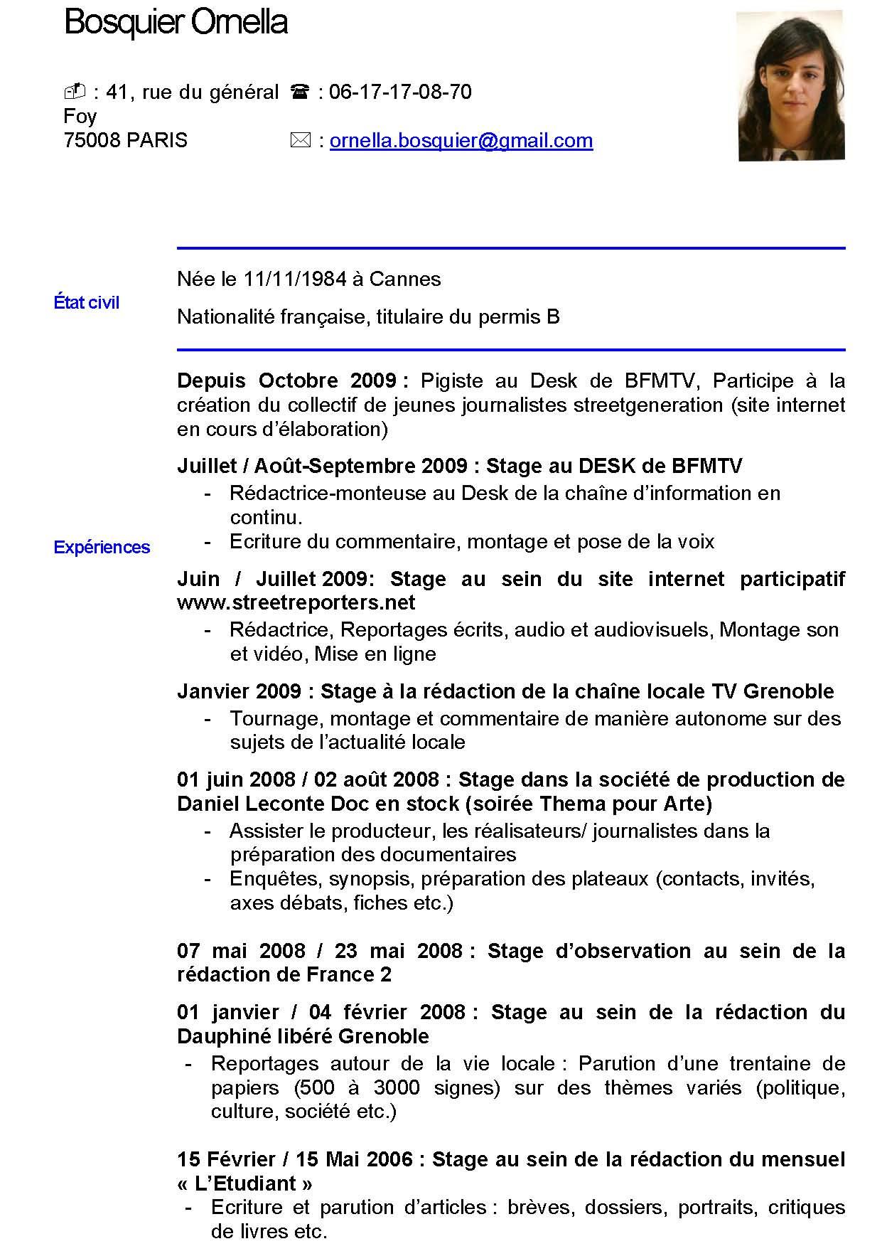 resume format  modele cv gratuit journaliste